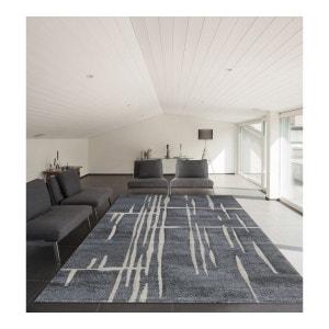 Tapis moderne rayé gris pour salon Walo ALLOTAPIS