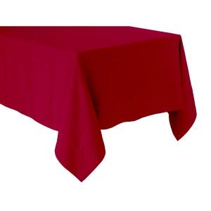 Nappe rouge basque - lin déperlant - unie, brodée BLANC CERISE