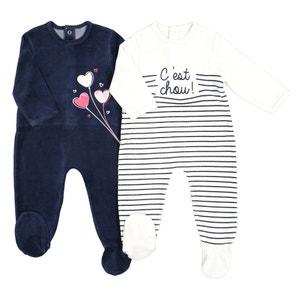 Pyjama in fluweel, 0 mnd - 3 jaar (set van 2)