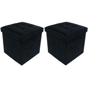 Jeu de 2 Poufs Coffre carré pliant Noir ESSY DECLIKDECO
