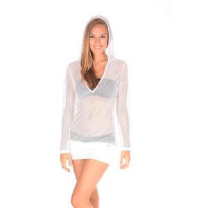T-shirt blanc en résille YOUKI HIPKIN BANANA MOON