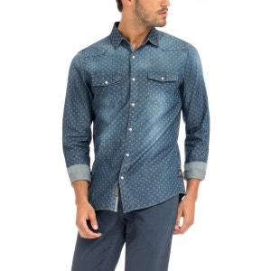 Chemise en jean bleu fonce homme