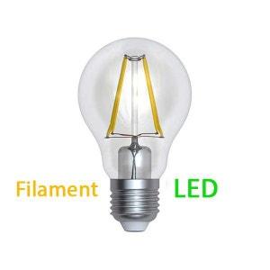 Ampoule Deco Filament LED E27 6 W ronde Blanc médium puissance 60 W MILLUMINE