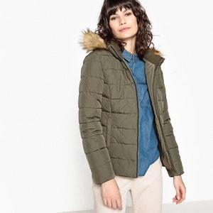 Padded Jacket with Removable Faux Fur Hood LE TEMPS DES CERISES