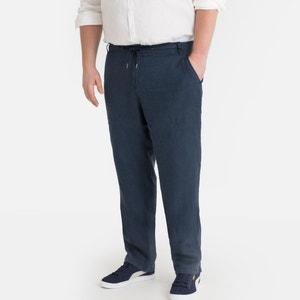 Broek in zuiver linnen met elastische tailleband
