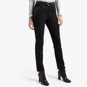 Rechte jeans, stras aan de zakken