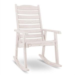 Alabama Chaise à bascule Chaise de jardin Bois massif blanc BLUMFELDT