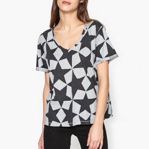 T shirt ample imprimé col V MAISON SCOTCH