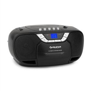 auna BeeBoy Boom Box Ghettoblaster Radio FM lecteur CD MP3 K7 USB - noir AUNA