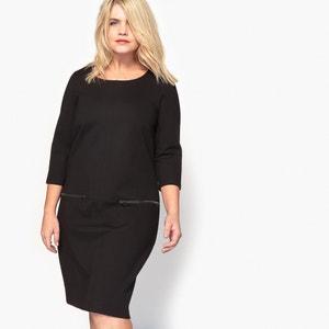 Unifarbenes Kleid mit 3/4-Ärmeln, halblang, gerade Schnittform CASTALUNA