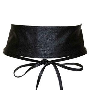 ceinture femme cuir large,Ceinture bandeau large 脿 nouer simili cuir pour  femme Noir  Amazon.fr  ... 300494b8556