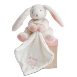 J'aime mon doudou : Peluche et doudou lapin rose DOUDOU ET COMPAGNIE