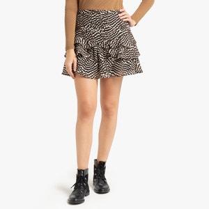 Korte rok met zebraprint, wijd uitlopend