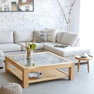 Table basse carrée vitrée en bois de TECK BRUT QUALITE PREMIUM - 120cm BOIS DESSUS BOIS DESSOUS