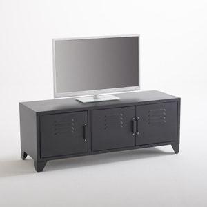 TV-meubel met industriële stijl, 3 deuren, mat zwart, Hiba La Redoute Interieurs