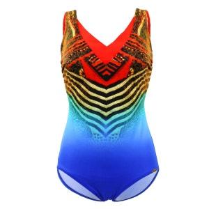 Maillot de bain 1 Pièce Bonnet D Tummy Control Red Blue Multicolore SUNFLAIR