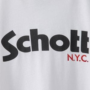 T-shirt met ronde hals en logo SCHOTT