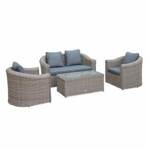 Salon de jardin en résine tressée arrondie 4 places - Valentino Naturel - Coussins anthracite, canapé fauteuils table basse ALICE S GARDEN