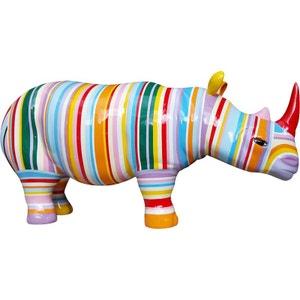 Rhinocéros design zébré de couleur en résine JARDINDECO