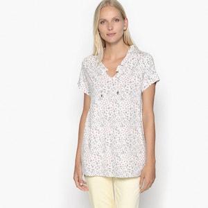 Printed T-Shirt with Ruffled Neckline ANNE WEYBURN