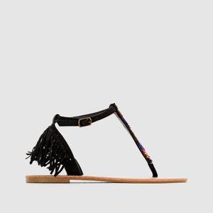Sandalias con tira entre los dedos y flecos, de tacón plano, MYRA COOLWAY