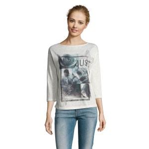 Tee-shirt avec imprimé frontal placé et petites pierres en strass PUBLIC