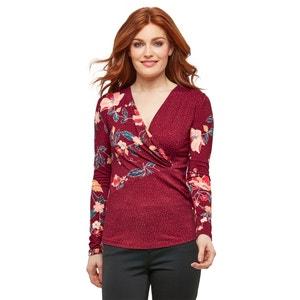 Overslag T-shirt met bloemmotief en V-hals