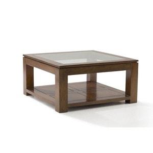 Table basse vitrée hévéa 80X80xm HELENA PIER IMPORT