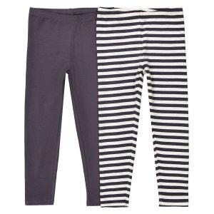 Lot de 2 leggings uni et rayé 3-12 ans La Redoute Collections
