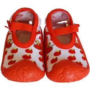 Chaussons-chaussettes enfant antidérapants semelle souple   Ballerines cerises C2BB