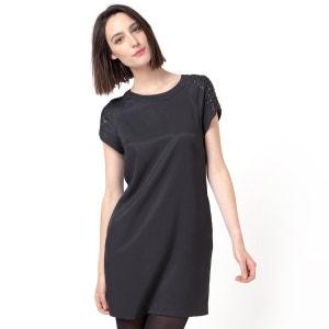 Vestido de manca corta, cuentas y lentejuelas COLOR BLOCK