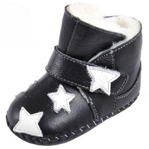 Chaussures premiers pas cuir souple | Montantes noires fourrées fleur rose CAROCH