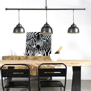Suspension industrielle barre 3 lampes arrondies  |  LAM36FB MADE IN MEUBLES