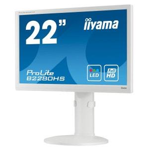 Ecran iiyama 21.5 LED - ProLite B2280HS - 1920 x 1080 pixels - 5 ms - Format 16/9 - Pivot - HDMI - Blanc IIYAMA