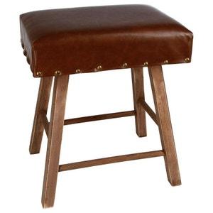 Tabouret Pouf clouté marron vintage et pieds bois 40x30x44cm PIER IMPORT