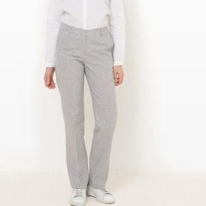 Pantalón recto a rayas, lino R essentiel