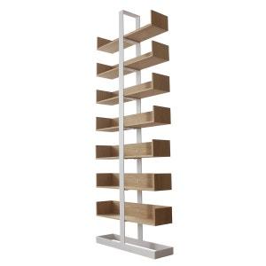 Bibliothèque design acier blanc et chêne Séverin ALEX DE ROUVRAY DESIGN