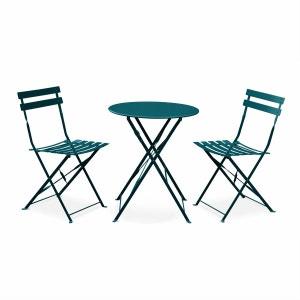 Salon de jardin bistrot pliable Emilia rond bleu canard, table Ø60cm avec 2 chaises pliantes, acier thermolaqué ALICE S GARDEN