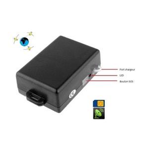 Mini traceur GPS boîtier aimanté GSM enfant auto bouton SOS noir Yonis