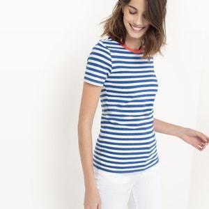 Camiseta a rayas, cuello redondo R essentiel