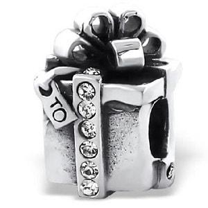 Charm Perle Paquet Cadeau Cristal Blanc Argent 925 - Compatible Pandora, Trollbeads, Chamilia, Biagi SO CHIC BIJOUX