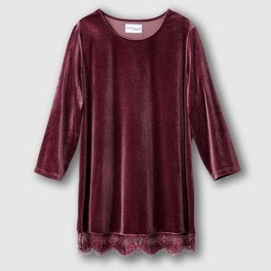T-shirt in tricot van glad fluweel CASTALUNA