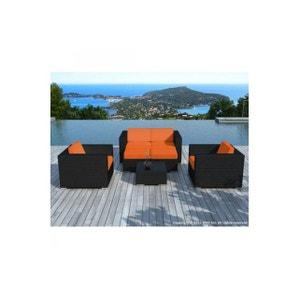 Salon de jardin noir avec housse orange Amin DECLIKDECO