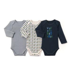 Lot de 3 bodies bébé en Coton Biologique-Oeko Tex La Redoute Collections