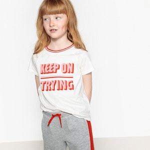 Bedrukt T-shirt met korte raglanmouwen 3 -12 jr La Redoute Collections