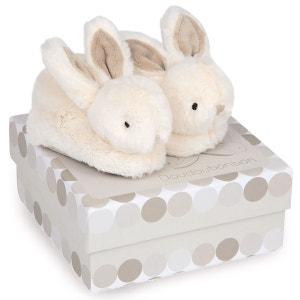 Coffret chaussons avec hochet taupe 0-6 mois Lapi DOUDOU ET COMPAGNIE