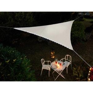Voile d'ombrage triangulaire Leds solaires 3,60 x 3,60 x 3,60 m Blanc JARDIDECO