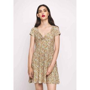 Krótka wzorzysta rozkloszowana sukienka, dekolt w serek, krótki rękaw COMPANIA FANTASTICA