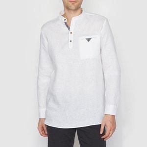 Smock Cut Long-Sleeved Pure Linen Shirt SOFT GREY