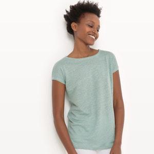 Lniany T-shirt z okrągłym dekoltem R essentiel
